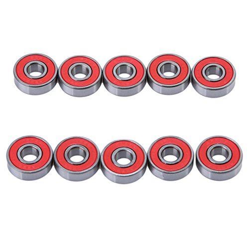 Lalang 10pcs Reibungsfreie Kugellager ABEC-9 für Skateboard, Roller, Inline Skates Rollenset Wheel