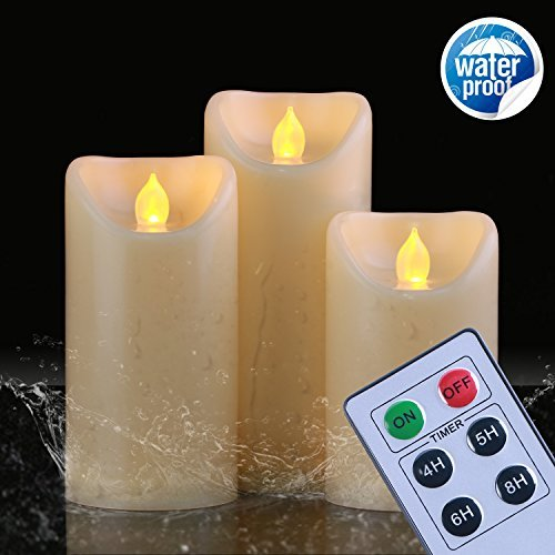 Homemory tanche Lot de 3 bougies sans flamme avec minuteur et tlcommande, fonctionne avec pile Flamme vacillante LED bougies, raliste Faux Bougie, Ambre Jaune, anniversaire, Bougie parfume, DE Mariage,
