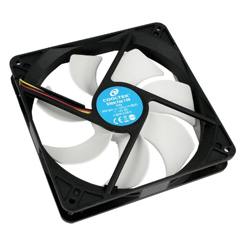 Cooltek 200400210 Silent Fan 140, 140mm x 140mm x 25mm Lüfter, Rifle-Bearing, 14 dBA, 900 U/min, 108 m³/h, 3-Pin Molex Anschluss