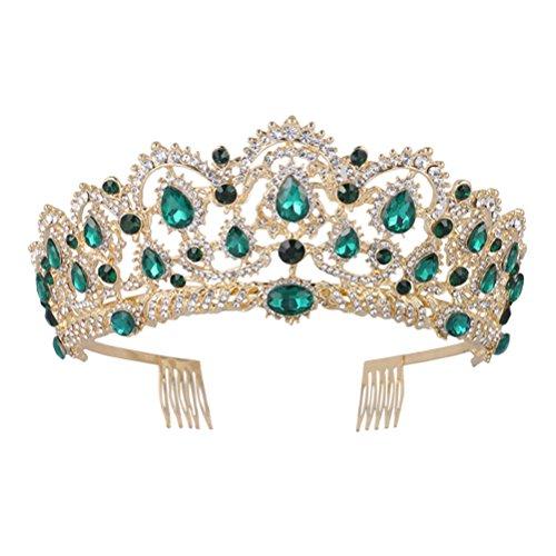 ne, Vintage Stirnband Strass Kristall Krone, Hochzeit Prom Tiaras für Frau Mädchen (grün) ()