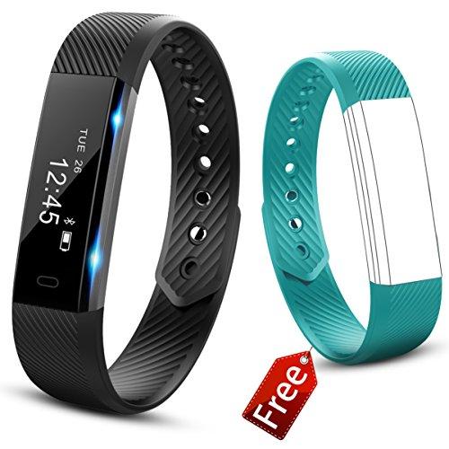 Activity tracker, Fitness Tracker, 0.86''OLED Touchscreen Bluetooth Braccialetto fitness, IP67 Impermeabile Sport Braccialetti Fitness Intelligente - Contapassi/Monitoraggio del Sonno/Calorie/Distanza & Fotocamera/ Sedentario Alert/Sveglia/Notifiche Chiamate/SMS/Whatsapp/Facebook per Iphone IOS & Android (Verde Acqua Nero)