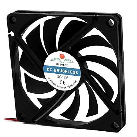 sourcingmap® DC 12V 80mmx80mmx10mm 11 Vanes PC CPU Computer Cooling Fan w Metal Finger Guard