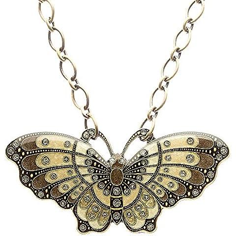 Collar Artesanal - Art Nouveau - Colgante De Mariposa -Elitt Bijoux - Clara Bijoux - Acabado: Latón Oxido - Colorido -Medidas medallon : 97 x 48 - Medidas cadena : 46 cm -B-70843-M