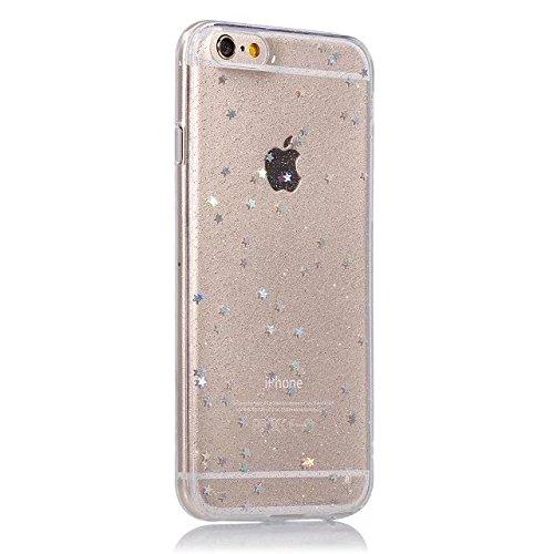 Etsue Silikon Schutz HandyHülle für iPhone 6S/iPhone 6 (4.7 Zoll) TPU Muster, Einzigartig Malerei Muster Silikon Handytasche Ultradünnen Weiche Transparent Handyhülle Crystal Klar Zurück Hülle Bumper  Glitzer Star
