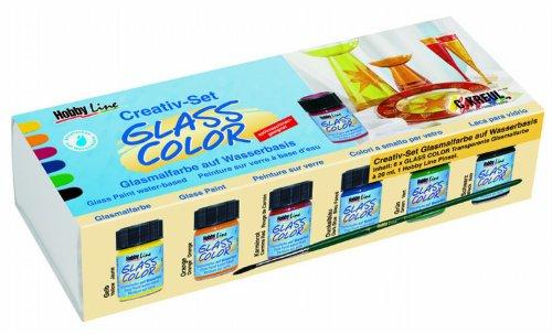 Hobby Line 42400 - Glass Color Glasmalfarben Set 6 x 20 ml