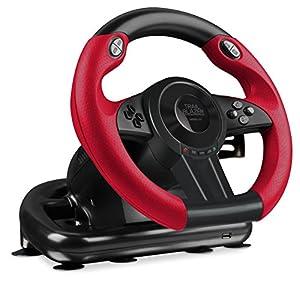 Speedlink TRAILBLAZER Racing Wheel – Lenkrad für Playstation 4, PS3 und PC (Minimale Schaltzeiten – Status-LEDs – dosierbare Pedale), schwarz/rot