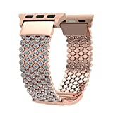 Apple Watch Band, Fresheracc Bling CZ Crystal Diamante loop cinturino di ricambio per iWatch Series 1, 2, 3, edizione sport Nike +...
