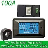 AC 22000W 250V 100A digital medidor Voltaje pantalla Energía Energía Voltímetro Amperímetro Corriente Amperio V vatímetro Tester Detector