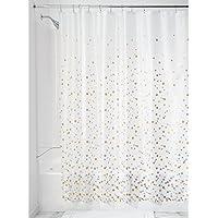 InterDesign - Revestimiento para cortina de ducha, de PEVA espesor 3, SIN PVC, RESISTENTE A MOHO Y HONGOS, INODORO, No huele a químico - 183 cm x 183 cm - Papel picado/plateado/dorado