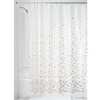 InterDesign – Revestimiento para cortina de ducha, de PEVA espesor 3, SIN PVC, RESISTENTE A MOHO Y HONGOS, INODORO, No huele a químico – 183 cm x 183 cm – Papel picado/plateado/dorado