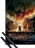 1art1 Poster + Hanger: Der Hobbit Poster (91x61 cm) Die Schlacht Der Fünf Heere, Smaug Inklusive EIN Paar Posterleisten, Schwarz
