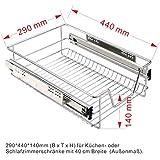 Küchenschublade Teleskopschublade Schublade für Küchen-oder Schlafzimmerschränke Korbauszug Schrankauszug silber Vollauszug in verschiedenen Breiten (40cm)