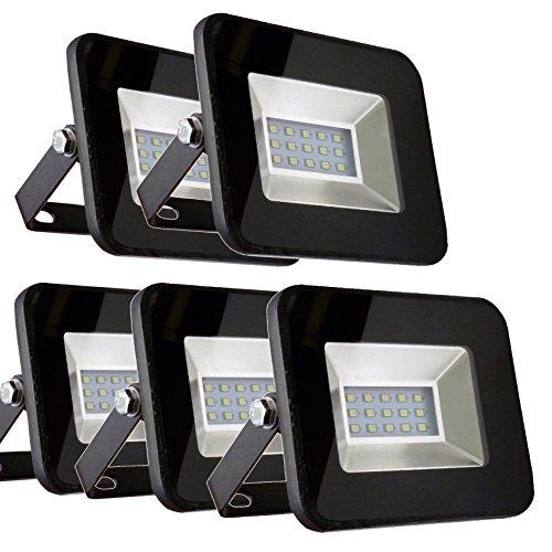 5er SET - V-TAC - 10W - LED Strahler Fluter Flutlicht - SMD - Tageslicht 4000K - 850 LM - IP65 - 110° - Ultraslim