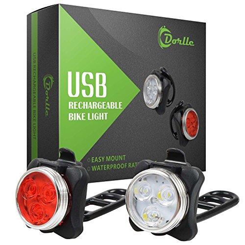 Dorlle Wiederaufladbare LED Fahrradlicht, LED Frontlicht und Rücklicht Für Fahrrad, Kinderwagenbeleuchtung, USB LED Fahrradlampe Set, Fahrradbeleuchtung,350lm Wasserdichte 4 Licht-Modi 2 USB-Kabel zum.