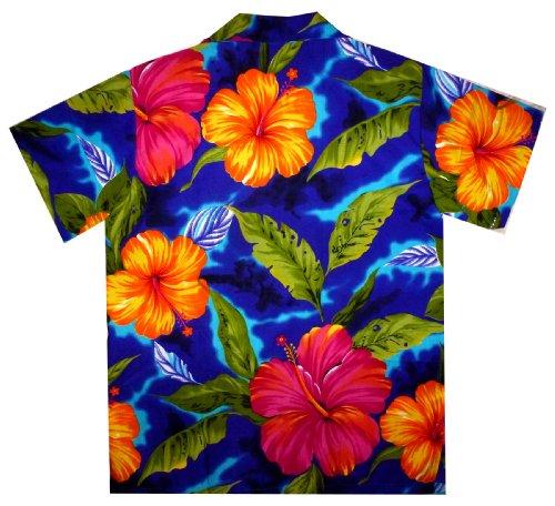 Original King Kameha | Funky Hawaiihemd | Herren | XS - 12XL | Kurzarm | Front-Tasche | Hawaii-Print | Große Blume Blätter Sommer | Blau Blau