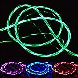 Wallfire LED-Blitzkabel Fließendes Licht USB-Daten-Sync-Ladekabel für Samsung Android (Color : Red for Android)
