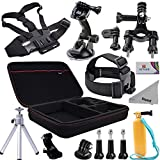 Deyard ZG-645 Premium GoPro Accessories Kit with Shockproof XL Case Bundle for GoPro Hero Session HERO 4 3+/3: Head Strap +Chest harness w/ J-Hook Mount +Car Suction Cup w/ Adapter +Bike Mount +Case XL +Aluminum Tripod +Deyard Float Grip +Cleaning cloth