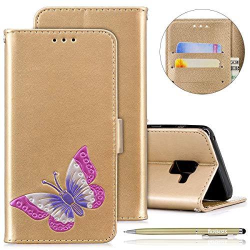 Herbests Handyhülle für Samsung Galaxy A8 2018, Ultra Dünn Bunte Brieftasche Handyhülle Hülle Ledertasche für Samsung Galaxy A8 2018, Mädchen Elegant Schmetterling Drucken Schutzhülle Klapph