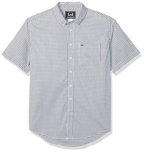 Button-down One Pocket Shirt (Cinch Herren Arenaflex Short Sleeve One Open Pocket Plaid Shirt Button Down Hemd, Cesar White, Mittel)