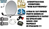 KIT SATELLITE:PARABOLA 80 CM+LNB 2 USCITE+CAVO+FINDER+STAFFA+SPINOTTI