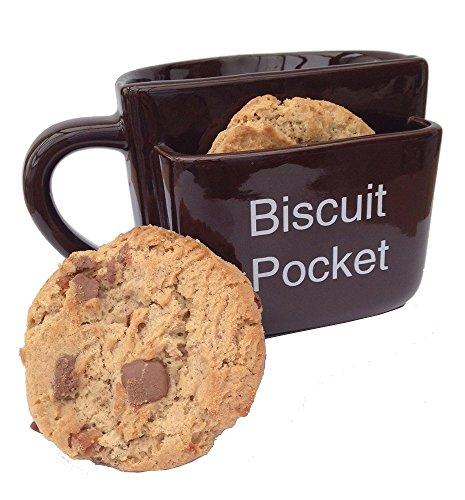 """Tazza con tasca per biscotti, grande, marrone, con scritta in lingua inglese """"Biscuit Pocket"""""""