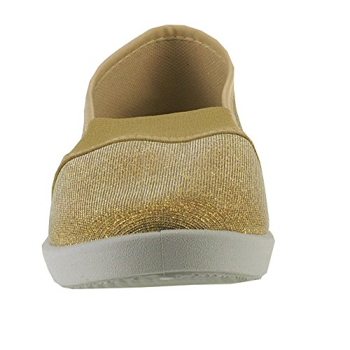 20011 Textil Metallic Damenschuhe Damenslipper Stoffschuhe Gold Slipper Fashion4young effekt rfxT1pqwr