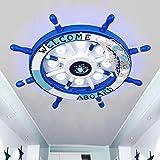 Kinderzimmer lampe mediterrane deckenleuchte junge schlafzimmer lampe kreative cartoon lampe raumlampe ruder kinder lampe (Color : Blue-45cm*45cm)