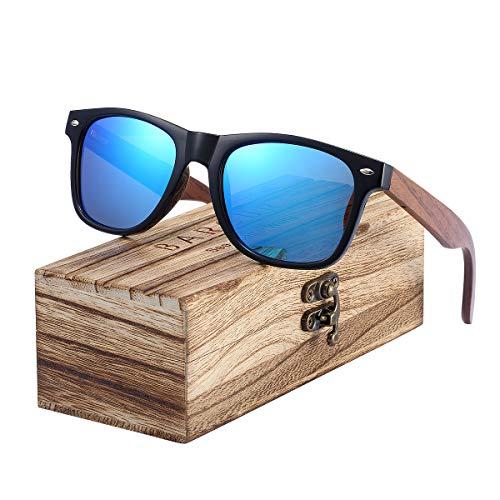 Barcur Klassische polarisierte Holz-Sonnenbrille für Herren und Damen, mit Holz-Box