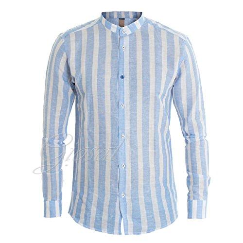 Giosal camicia uomo righe akiro' collo coreano lino bicolore azzurro bianco casual c1376a-s