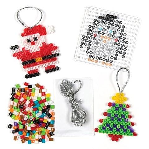 Kit de décoration de Noël en perles que les enfants pourront confectionner au fer à repasser pour Noël et suspendre – Objets de loisirs créatifs de Noël que les enfants pourront confectionner (Lot de 6).