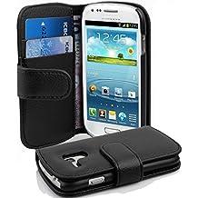 Cadorabo - Etui Housse pour Samsung Galaxy S3 MINI (I8190) - Coque Case Cover Bumper Portefeuille (avec fentes pour cartes) en NOIR DE JAIS
