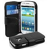 Cadorabo Etui Housse pour Samsung Galaxy S3 MINI (I8190) - Coque Case Cover Bumper Portefeuille (avec fentes pour cartes) en NOIR DE JAIS