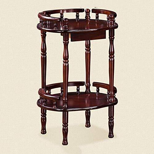 YueQiSong Runder Holz-Beistelltisch Wohnzimmer Sofa Beistelltisch Couchtisch mit Ablageboden Einfacher Entwurf Mehrzweck-Kleiner Raum-Nachttisch-Tisch -