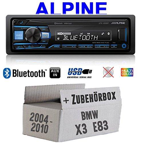 Autoradio Radio Alpine UTE-200BT Bluetooth USB MP3 | 1-DIN PKW KFZ 12V Einbauzubehör - Einbauset für BMW X3 E83 - JUST SOUND best choice for caraudio