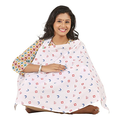 Brotherbaby Poplin Nursing Breastfeeding Cloak Cover for Baby Boy & Girl - Mother Feeding Apron, 0-36 Months Unisex, 98 x 64 cm - Multi-Color
