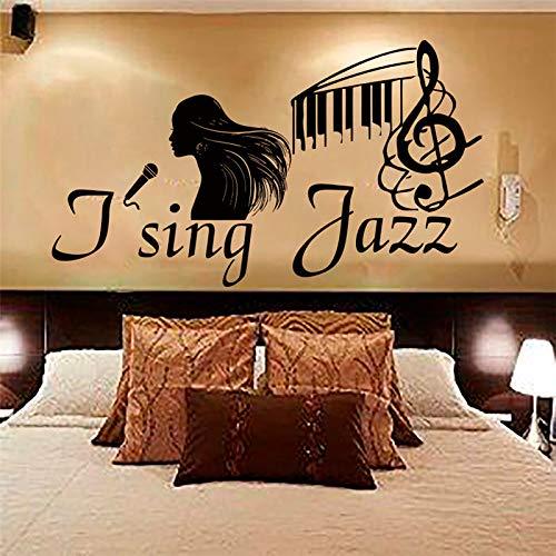 guijiumai Ich Singe Jazz Sängerin Wandaufkleber Vinyl Removable Home Decor Musiknote Schwarz Schlafzimmer Wandtattoos schwarz 59x112 cm