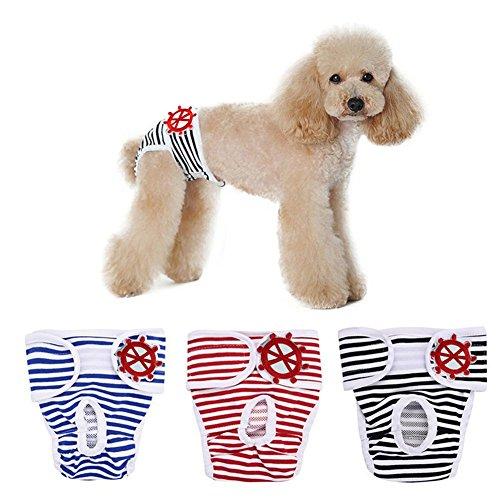 Zongsi 3 paquetes Pantalones Sanitarios Perros Ropa interior Pantalones Sanitarios Perros Pañales Mascotas Braga Braguita Lavable Animal Doméstico (L)