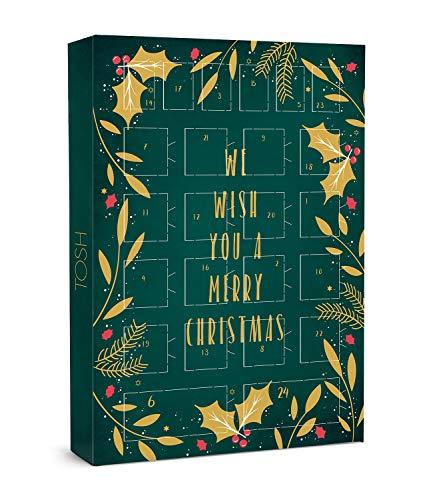 TOSH Adventskalender in grün mit Goldener Aufschrift We Wish You a Merry Christmas (701-025)