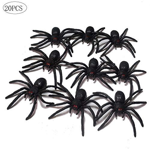 Romote 20Pcs Kleine Halloween Spiders Realistische Kunststoff Spinne Spielzeug Crepy Spinnen Für Haunted House Prop Indoor Outdoor Yard Halloween-Dekor - Schwarz (Halloween-dekor Spinnen)
