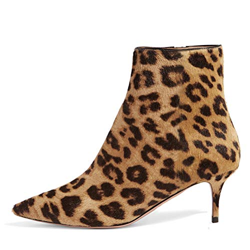 Lutalica BX002 Frauen Spitzschuh Low Kitten Heel Reißverschluss Komfort Kleid Stiefeletten Schuhe Leopard Größe 43 EU