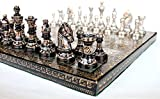 BRK HANDICRAFT Brass Chess Board (12x12x2.5-inches, Black) -32 Pieces
