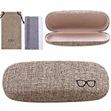URATOT Retro Hard Shell Eyeglasses Case Portable Linen Glasses Case with Drawstring Pouch Cleaning Cloth for Glass Storage