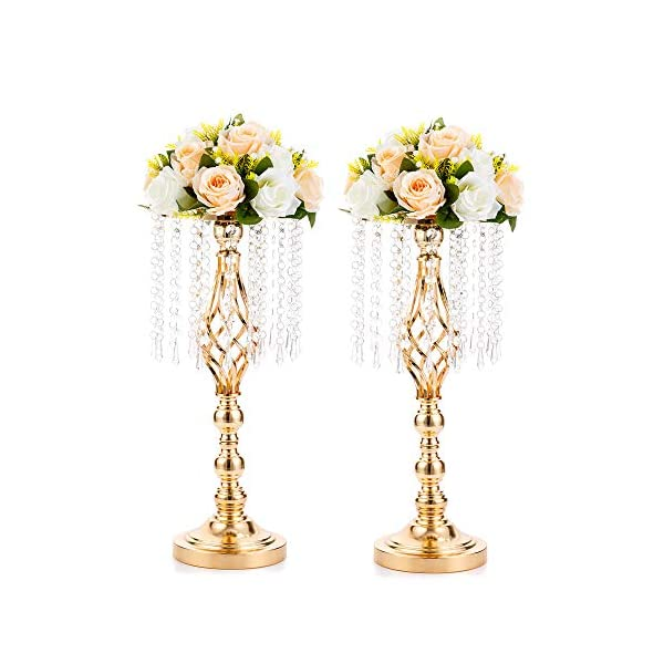 Nuptio 2 Piezas 49cm Altura, Soporte de Flores de Cristal, Centro de la Boda, Portadores de Flores Altos, Centro de Mesa…