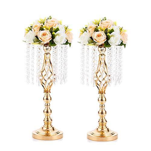 Wedecor 2 Stück Hochzeit/Party Blumenständer mit Kristall Teardrop, Metall Hochzeit Dekorationen Parteien Event Esstisch Dekoration (Gold, Form verdrehen)