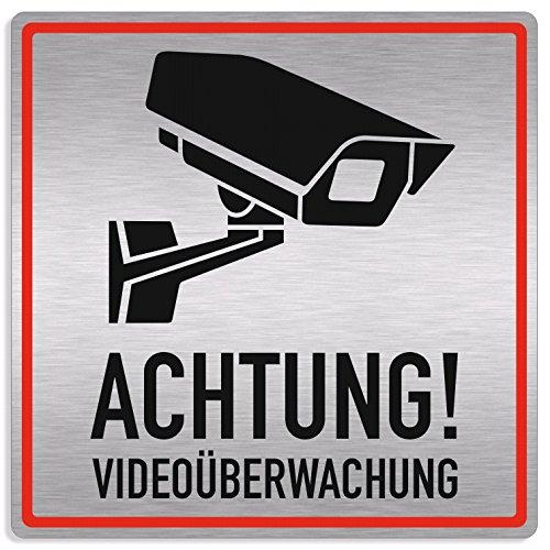 Schild Videoüberwachung, Achtung Videoüberwachung, 20x20cm, Aluverbund silber gebürstet, edle Optik