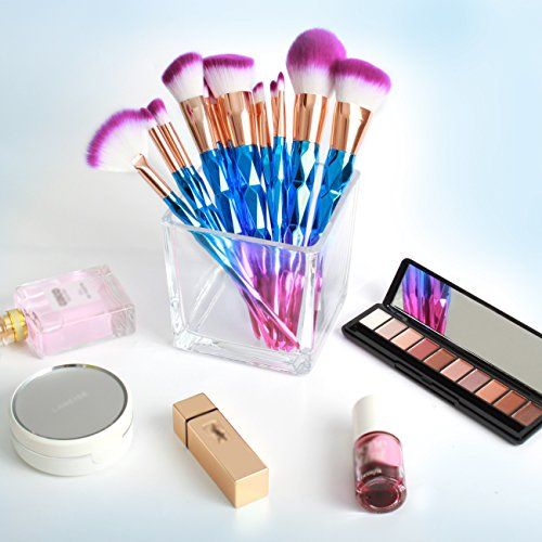 Rainbow Makeup Brushes, TheFellie 10pcs Foundation Powder Highlighter Eyeliner Eyebrow Eyeshadow Blending Brushes (12pcs Diamond)