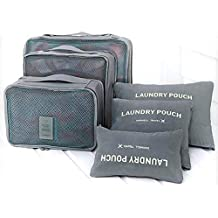 House of Quirk Polyester Travel Storage Bag (43.99 cm x 30 cm x 3.99 cm, Set of 6, Grey)