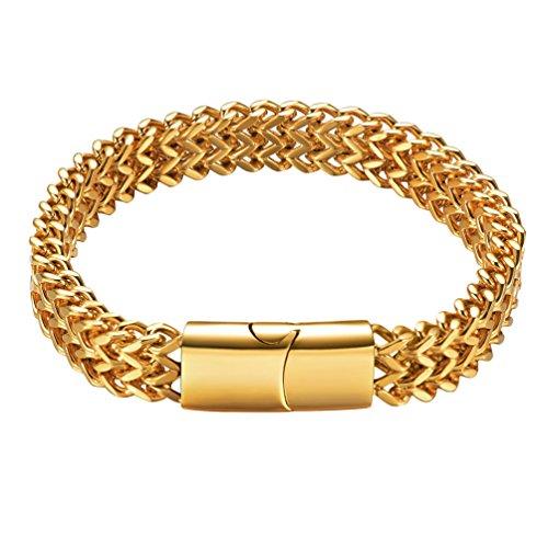 PROSTEEL Männer Jungen Armband 10mm breit Francokette Armband 21cm 18k vergoldet Fashion Gliederkette Armkette Kettenarmband mit Magnetverschluss(Gold)