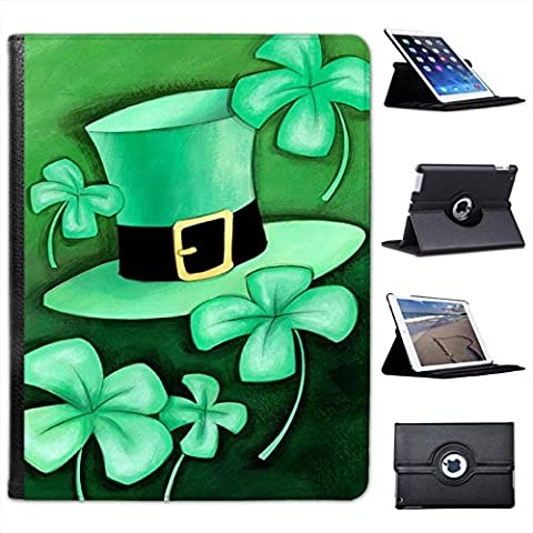 Lucky Irish Shamrock & Green Leprechaun Hat For Apple iPad 2, 3 & 4 Faux Leather Folio Presenter Case Cover Bag with Stand