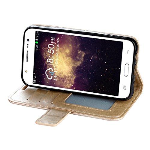 Samsung Galaxy J510 J5 2016 Cover Case HuaForCity® Portafogli Custodia in Pelle PU Copertina con Slot per schede Magnetica Flip Chiusura Stile del Libro Supporto Funzione Bumper Caso for iphone 6 Gold